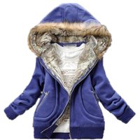 Wholesale Promotion Three Color New Manufacturers Supply Women Winter Fur Collar Hooded Sweater Women Plus Large Warm Clothing M XL