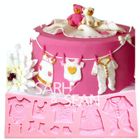 baby clothesline - M0821 Baby clothes clothesline fondant cake molds soap chocolate mould for the kitchen baking