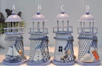 metal candle stand - Mediterranean style lighthouse wrought iron Candlestick Candle holder Home decoration