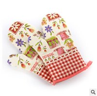Wholesale The new high temperature microwave oven baking gloves thicker insulation against hot slip lengthened temperature gloves