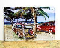 Playa vieja lata de coches muestra del estilo de coche cartel Home Club Bar mayorista pulgadas 8x12 (20x30cm) 50pcs / lot CA20