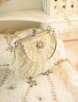 Wholesale Evening Bag Beaded Clutch bags Bride Bag Purse Crystal Pearl full dress Party Handbag Shoulderbag Wedding Valentine s Gift