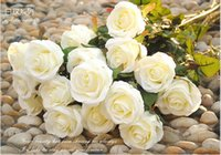 craft supplies - New Styles Artificial Rose Silk Craft Flowers Real Touch rose Flowers Craft Bouquet For Wedding Christmas Room Decorations supply Color