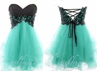 Cheap 2015 mint green strapless homecoming dresses with black lace top corset back A line puffy mini short tulle prom dresses