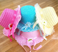 baby batch - 2015 candy colors girls summer sun hat hat around cm lovely flowers princess hat lace baby hats color mixed batch D2