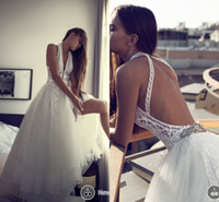Wholesale Simple Flower Sash - Soft Tulle A Line Lace Wedding Dresses 2016 Halter Sexy Open Back bohemian Boho Wedding Bridal Gowns Layered Custom Made