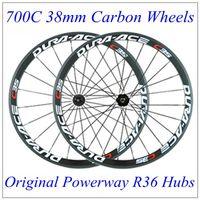 Wholesale Powerway R36 Hubs Carbon Wheels C35 White Red Decal Full Carbon Bike Wheels K Matt C mm Wheelset Black Spokes