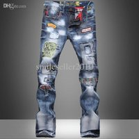 Wholesale Hot Sales Fashion Boy s Pants New Tide Washed Cotton Trousers Men s Slim Jeans Hole Jeans Pants R69 salebags