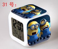 Wholesale 2016 Hot Minions Alarm Clock with LED Minions action Toy Figures Minions Electronic Kids Children Morning Call Alarm Clocks MYF228