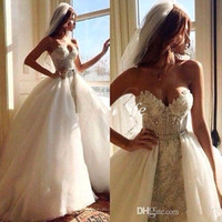wedding gown detachable train - 2016 New Sweetheart A Line Lace With Detachable Train Oranza Beads Crystal Backless Wedding Dresses Backless Garden Bridal Gowns