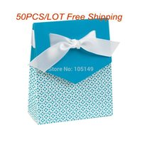 Cheap 50Pcs lot Free shipping Wedding invitation box for Party favor box and Wedding gift box Blue Tent candy box Real Product photo