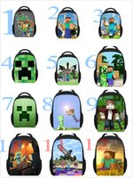 Wholesale 18 Optional different designs unisex Minecraft creeper backpack Minecraft series creative Steve kid s school polyester backpack