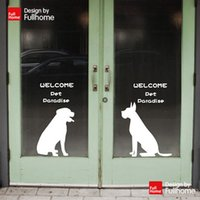 Wholesale Welcome Door Wall Stickers Pet Dog Silhouette Pet Store Decoration Hound Cartoon White