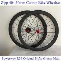 carbon bicycle wheel set - ZIPP Carbon Road Racing Wheels Black Decal Carbon mm Powerway R36 Hubs Cycling Wheel Set Glossy Matte Bicycle Wheelsets Super Light
