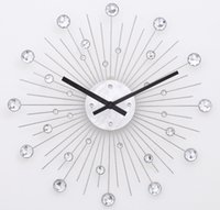 aluminium wall clock - Jeweled Big Size Silver Hanging Wall Clock Stainless Steel Wire Dial in Aluminium with Clear Acrylic Stones quot Quartz Clock
