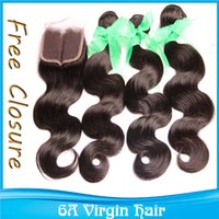 Cheap Grade 6A Indian Brazilian Remy Hair Buy 3pcs get Free Lace Closure One Piece Fast Free Shipping DHL