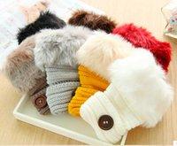 Wholesale Fashion Cute Faux Rabbit Fur Hand Winter Warmer Knitted Fingerless Gloves Mitten colors