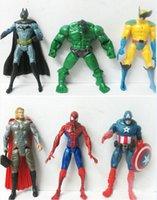 wholesale action figures - The Avengers Captain America Spiderman Thor Batman Hulk Wolverine Action Figures Toy PVC Figure cm set by DHL