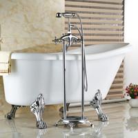 bath tub filler - And Retail Luxury Polished Chrome Finish Solid Brass Bath Tub Faucet W Handheld Shower Sprayer Floor Mount Tub Filler