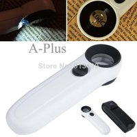 Wholesale 2014 New Arrival Mini Illuminated Loupe X25mm Led Light Magnifying Glass Magnifier White Jeweller b014 SV002663