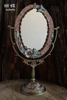 antique framed butterflies - stylish antique butterfly desktop makeup cosmetic mirror embossed color drawing decorative metal frame table decoration D