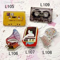 badge orders - Mix order min order is new arrival acrylic badge tpae CD TV gramophone pin brooch L105 L106 L107 L108 L109