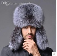 Wholesale Star Fur Genuine Silver Fox Fur Hats Men Real Raccoon Fur Lei Feng Cap for Russian Men Bomber Hats with Leather Tops
