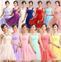 achat en gros de bleu taille haute-2016 robes de demoiselle d'honneur pas cher bleu robe violette sangle longueur genou taille haute robes de soirée en mousseline Jaune royal 11 couleur 7 de taille
