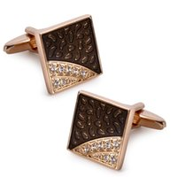 Wholesale Square cufflink blanks for mens rose gold plate copper cufflinks with top quality Czech Crystals cuff links