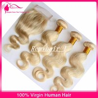 Wholesale Good Quality A Grade Bundles Hair With Free Part inch lace Closure Color Blonde Brazilian Virgin Human Hair Body Wave Extensions
