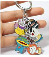 Wholesale Yokai Watch Yo kai Figures Toys Key Chain Dangle Metal Charms Jibanyan Tsuchinoko