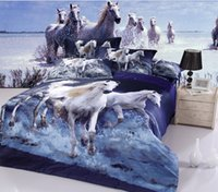 Cheap blue animal horse printed queen full quilt duvet covers 3D girl's bedding comforter bedspread bed linen sheets set home textile