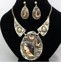 Wholesale brand costume crystal rhinestone jewelry sets fashion womens chunky necklace and earrings sets vintage accessories