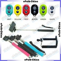 Wholesale 2 In Self Portrait Kit Extendable Telescopic Handheld Monopod Bluetooth Camera Remote Shutter For iPhone iPad Samsung Android Smartphone