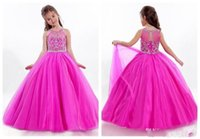 beaded pageant dress child - Lovely Girls Pageant Dresses Rachel Allen Sheer Jewel Neck with Appliqued Beaded Floor Length Child Pageant Ball Gowns Custom