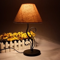 metal table base - Vintage fashion lamp gift hot selling cloth cover black iron base E14 table lamp birthday gift Christmas gift table lights
