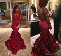 ribbon roses - 2015 Red Evening Dresses Mermaid With Rose Floral Ruffles Crew Sheer Applique Long Sleeve Prom Dresses Sexy Formal Evening Gowns Real Image