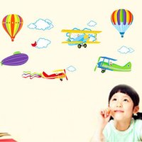 balloons sky art - Airplane Balloon Wall Stickers Living Room Home Decorations pvc Decal Mural Art Office Nursery Kids Room Wall