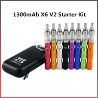 Cheap X6 V2 Starter Kit 1300mAh E Cigarette Zipper Kit Full Kit with 2.5ml Clearomizer Huge Vapor Electronic Cigarette