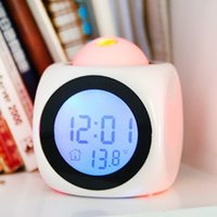 Cheap Weather Station LCD Digital Talking Alarm Clock Thermometer Electronic Clocks C F Desktop Table Despertador