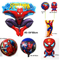 Wholesale Spider Man Balloons Ultimate Marvel Spiderman Balloon Stick Decorations Party Supplies Aluminium Coating Children Kids Toys DHL Factory