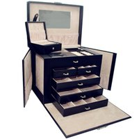 big jewelery box - New Pc Luxury PU Leather Crocodile Grain Jewelry Box Big Layers Fashion Jewelery Storage Box Packaging Case Organizer
