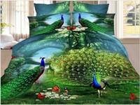 achat en gros de reine taille couette ensembles couvre-lit-3D papillon Peacock literie imprimée couette housse de couette couvre-lit drap lit dans un sac de toile queen taille double pleine belle literie