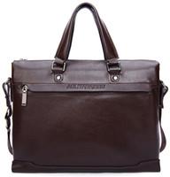 nylon polyester satin ribbon - 2015 Bolsas Femininas Bags Totes Black Brown Plain Rivet Hot Sale New Genuine Leather Men Bag Briefcase Handbag Shoulder Laptop