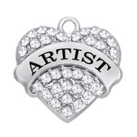 artists bracelets - New Fashion Easy to diy rhodium plated Artist heart charms for elegant decoration jewelry making fit for necklace or bracelet