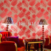asia project - Modern three dimensional gold leaf wallpaper red peacock feather wallpaper background wall entertainment project KTV Bar