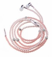 Wholesale Phone Mp3 Headphone In Ear Diamond Pearl beads couple necklace Earphones With Mic Fashional gift Girls earbuds headset LL