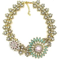 Lockets Women's Gift Z High Quality Women Luxury Costume Fashion Chunky Necklaces & Pendants Chokers Crystal Flower Gorgeous Statement jewelry NK225
