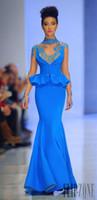 Wholesale Fouad Sarkis Sheer Long Sleeve Appliqued Celebrity Evening Dresses High Neck Mermaid Formal Gown Prom Dresses