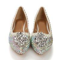 ballet flat winter - Handmade Rhinestone Wedding Flat Shoes Bridal Rhinestone Flat dress Shoes women dance shoes